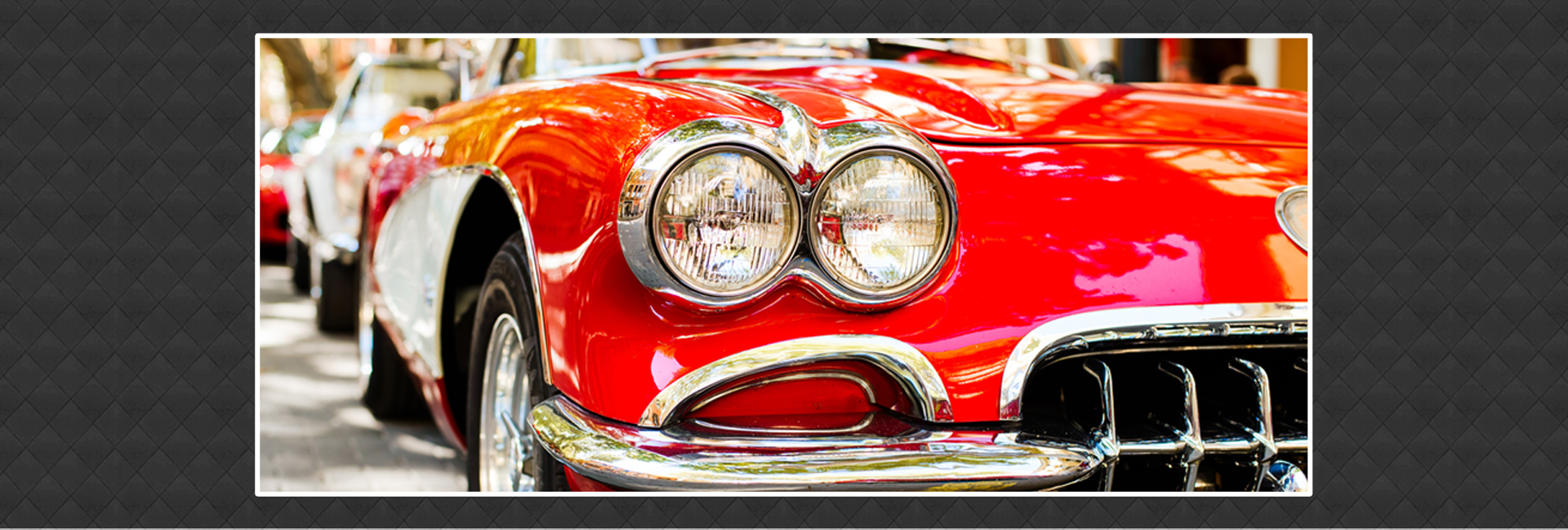 Close-up of Headlights of Red Vintage Car